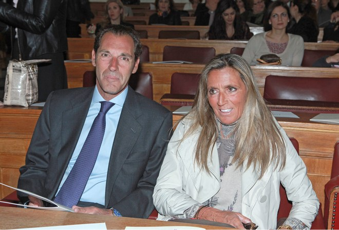 """Ο Πρόεδρος του Ιδρύματος """"Παύλος & Αλεξάνδρα Κανελλοπούλου, Νέλλος Κανελόπουλος με τη σύζυγο του, Λη"""