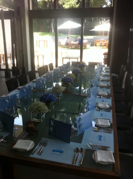 To τραπέζι που φιλοξένησε το γεύμα της βάφτισης...