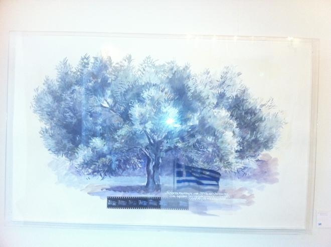 """Το αγαπημένο μου έργο """"Olive Tree"""" με την Ελληνική Σημαία της Ειρήνης Δανιόλου-Νεοφύτου"""