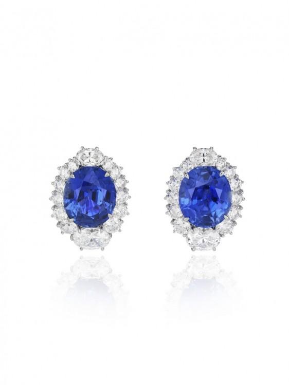 Sapphire and diamonds earrings WEDDING