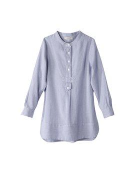Stella McCartney fine blue stripe long sleeve cotton shirt dress, 50 euro