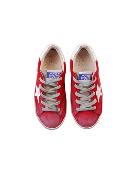 Golden Goose Deluxe Brand, Red&White Suede Super Star Sneakers