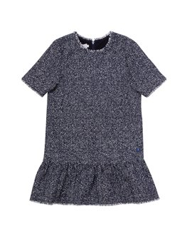 Baby Dior, Girls Black Cotton & Silk Short Sleeve Dress