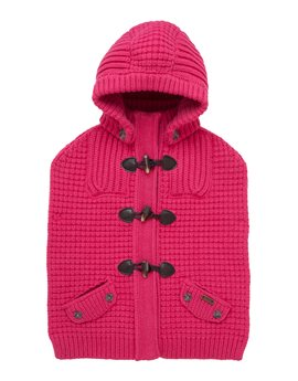 Bark Knitted Duffle Cape with Removable Hood