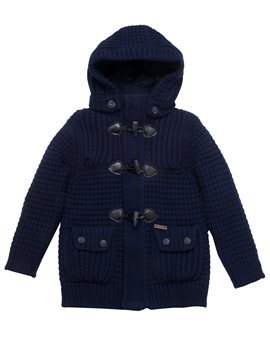 Bark Knitted Duffle Coat with Removable Hood