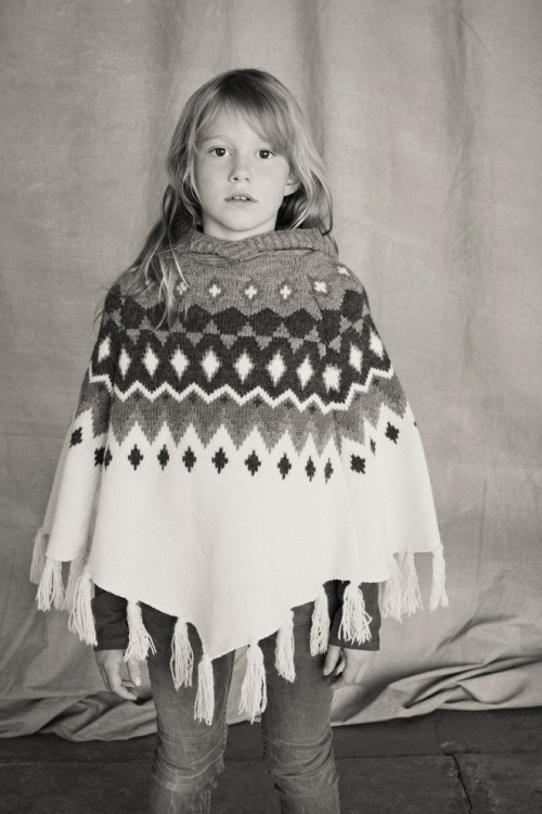Girls Off White Jacquard Poncho