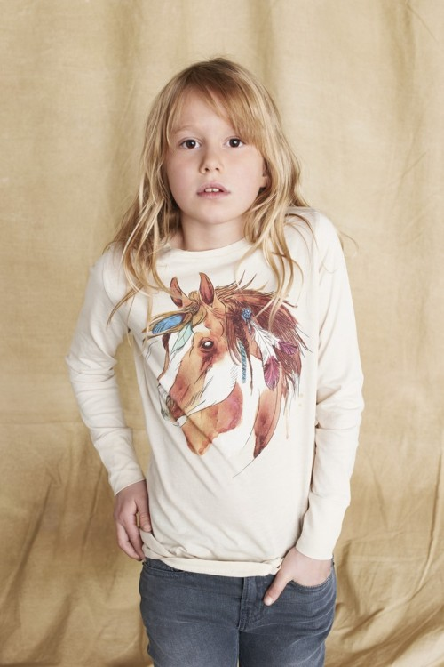Girls Off White Indian Horse Print T-Shirt