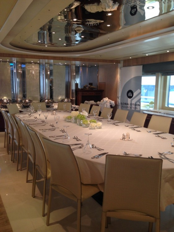 Dinning in the yacht...