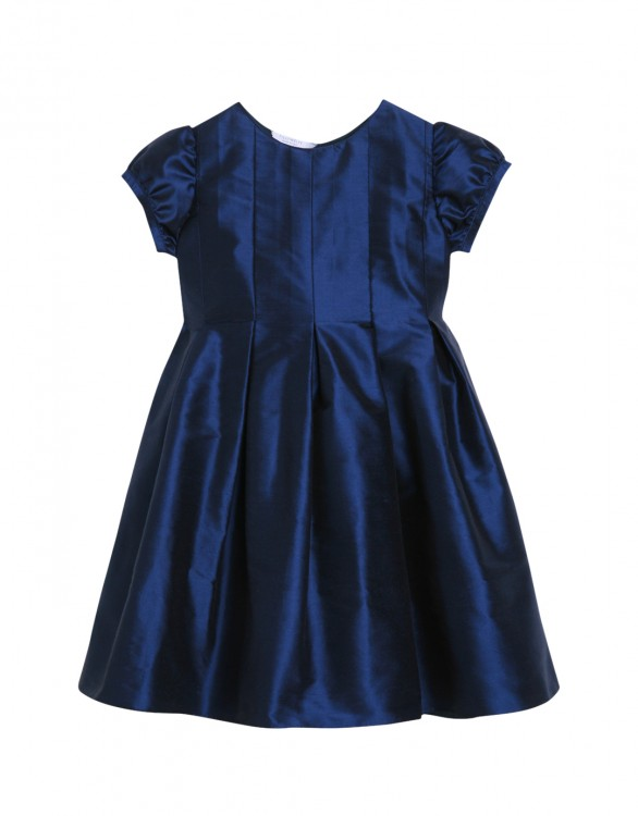 Girls Dark Blue Silk Party Dress with Optional Bow