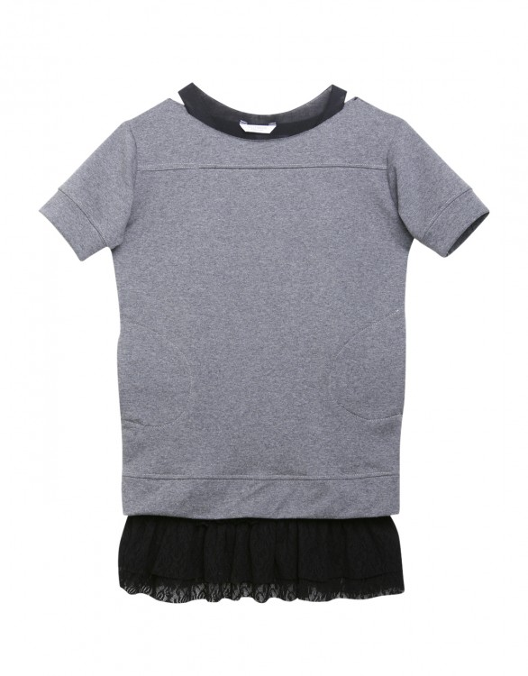 Girls Grey and Black Two Piece Tunic Dress