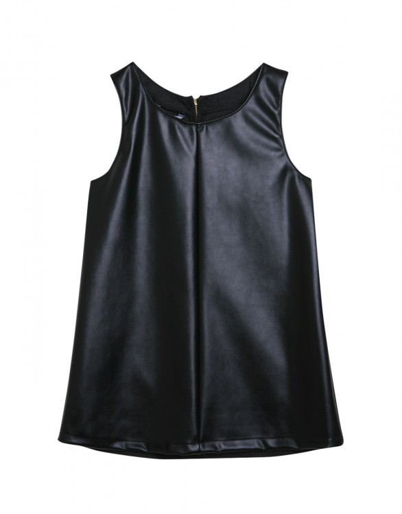 Girls Black Faux Leather Sleeveless Dress
