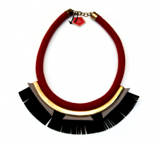 Black Tassels with Gold details Necklace