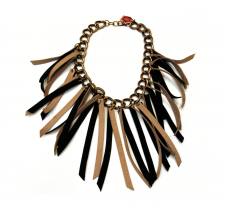 Multi Suede Tassels Statement Necklace