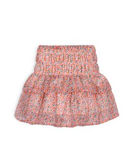 TROIZENFANTS Girls Floral Print Layered Skirt