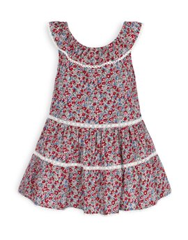 TROIZENFANTS Girls Floral Print and Lace Dress