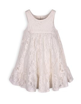 TROIZENFANTS Girls Off White Lace Sleeveless Dress