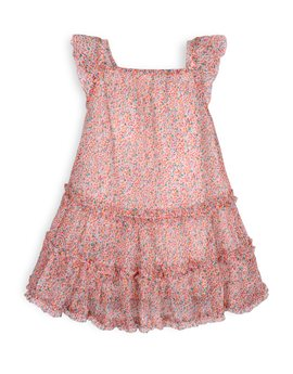 TROIZENFANTS Girls Floral Print Summer Dress
