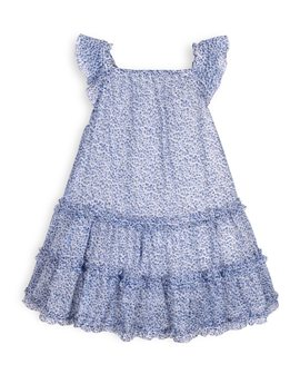 TROIZENFANTS Girls Blue Floral Print Summer Dress