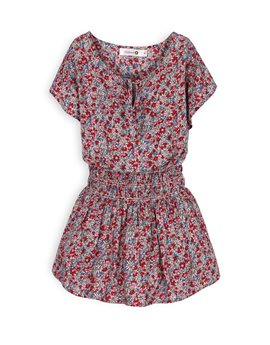 TROIZENFANTS Girls Fuchsia Floral Print Dress