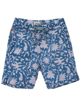 Boys Blue Leaf Print Bermuda Shorts