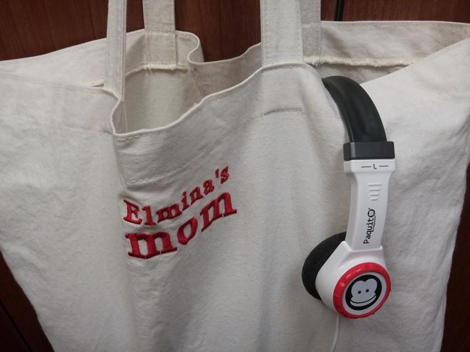 """Η τσάντα μου. """"Elmina's mom"""" by Wrap. Και τα ακουστικά μου για την ώρα στον διάδρομο. Της Ελμίνας είναι...Από το Imaginarium..."""