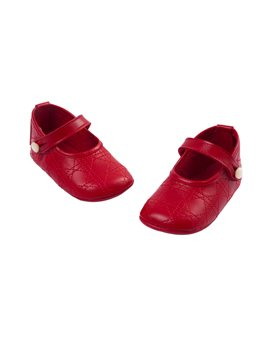 Baby Girl Leather Mary Jane Shoes with Stitch Pattern