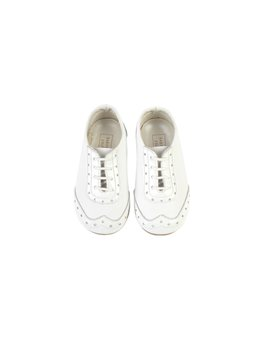 Baby Boy White Leather and Patent Lace Up Shoes