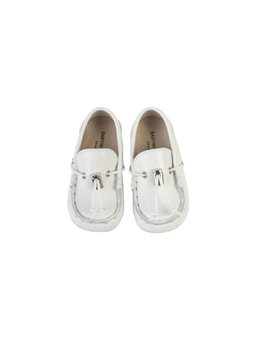 Baby Boy White Leather Moccasin Shoes