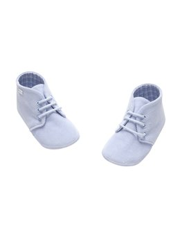 Baby Boy Soft Blue Corduroy Lace Up Bootee
