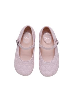 Girls Powder Pink Leather Mary Jane Shoes