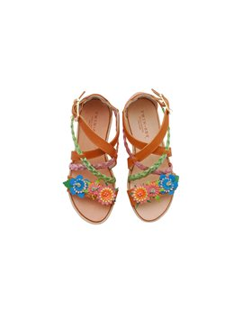 Girls Leather and Raffia Wedge Sandals