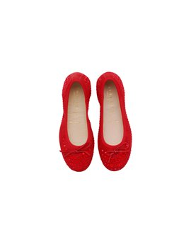 Girls Red Embellished Ballerina Shoes