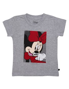 Girls Grey 'Minnie Mouse' T-Shirt
