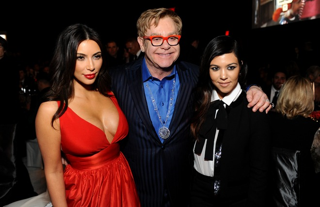 Kim Kardashian, Elton John, Kourtney Kardashian