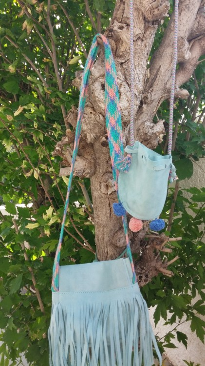 Girls Duck Egg Blue Suede Purse Bag
