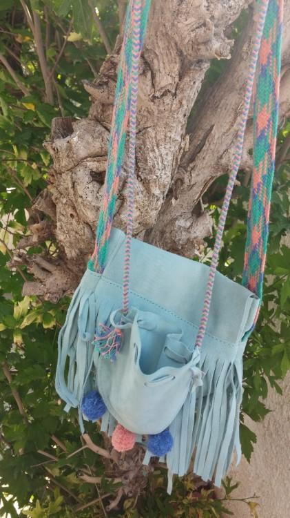 Girls Duck Egg Blue Suede Fringe Bag