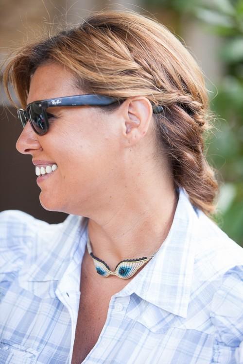 """Tatiana Choremi, """"Nefertiti Eye"""" handmade knitted necklace"""