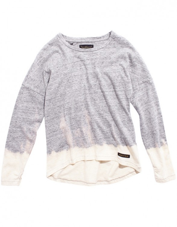 Girls Grey-Dip Bleach Long Sleeve T-Shirt
