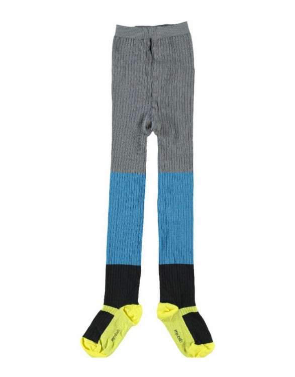 Girls Colour Block Cotton Rib Tights