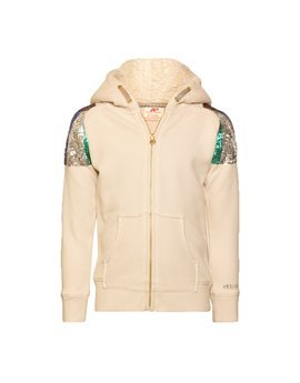 Girls Ecru Sequin Hooded Sweat Jacket