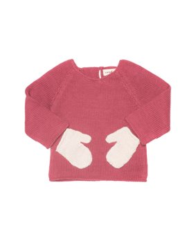 Girls Pink and White Hug Me Sweater