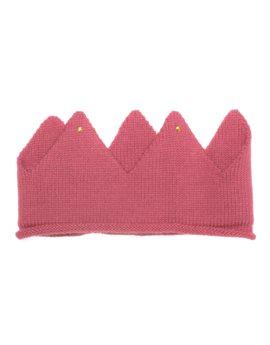 Unisex Pink Alpaca Knitted Crown