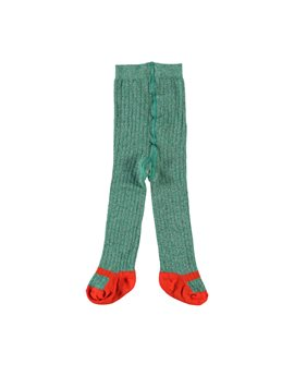Girls Green and Red Organic Knit Tights