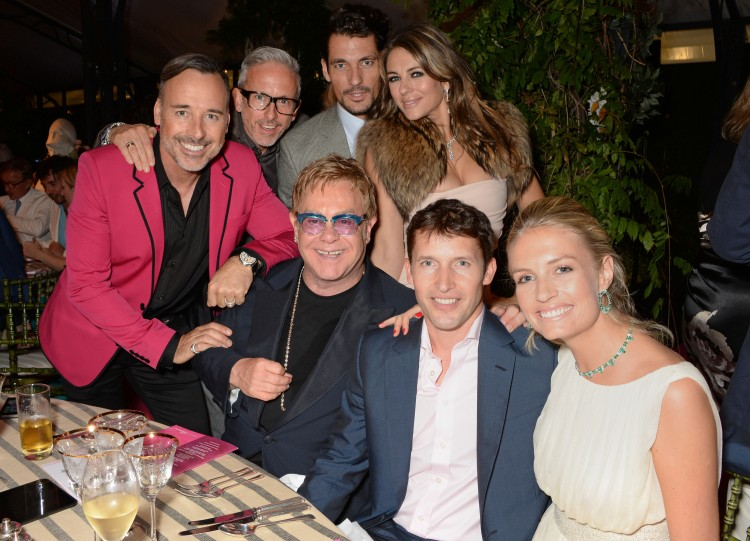 David Furnish, Patrick Cox, David Gandy, Elizabeth Hurley, Elton John, James Blunt & fiance Sofia Wellesley