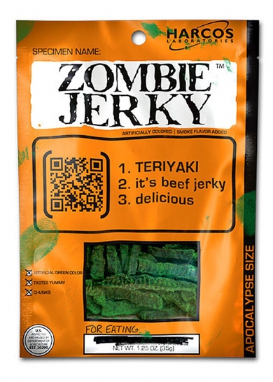 Teriyaki-cured beef jerky masquerades as the flesh of the undead and makes the perfect accompaniment to a night of terrifyingly good fun