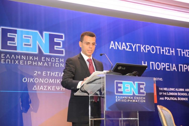 Ο Πρόεδρος της Ελληνικής Ένωσης Επιχειρηματιών, Δρ. Βασίλης Αποστολόπουλος, ανοίγει τις εργασίες της 2ης Οικονομικής Διάσκεψης της Ένωσης