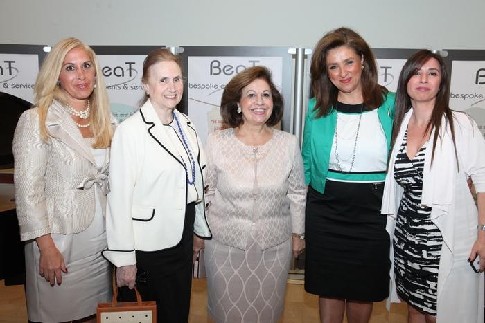 Η Alison Andrews, η Αντιπρόεδρος του Μουσείου Γουλανδρή Φάλη Βογιατζάκη, η ΑΒΥ Πριγκίπισσα Αικατερίνη και οι διοργανώτριες Έμη Τρικάρδου και Λίλα Βόγλη