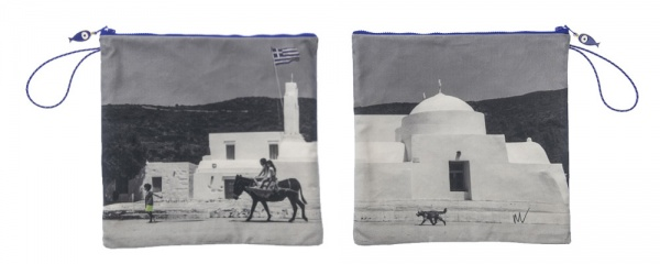 Waterproof Summer Beach Pouch with photo of Sifnos printed on it.