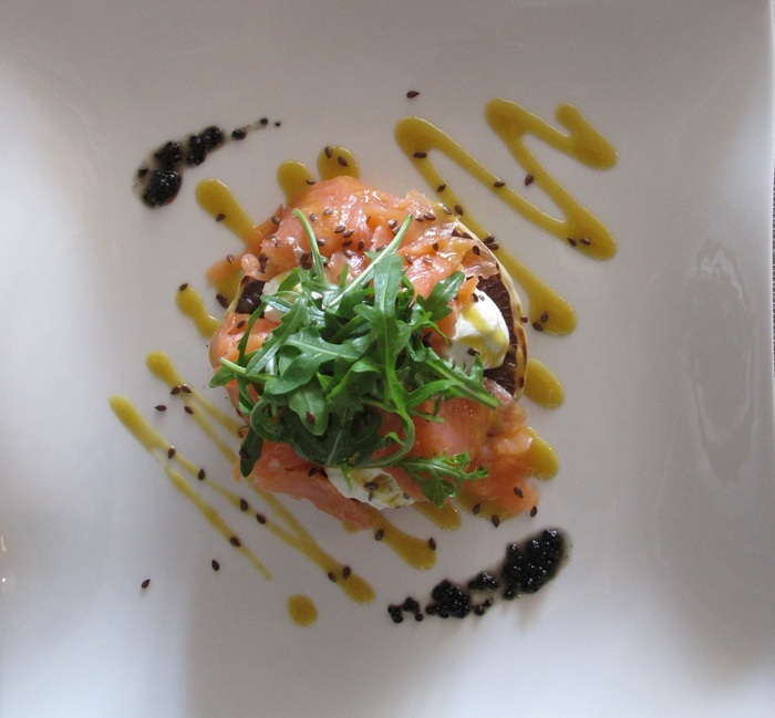 Quinoa Blini with smoked salmon, lime cream cheese, linseed & honey - mustard dressing