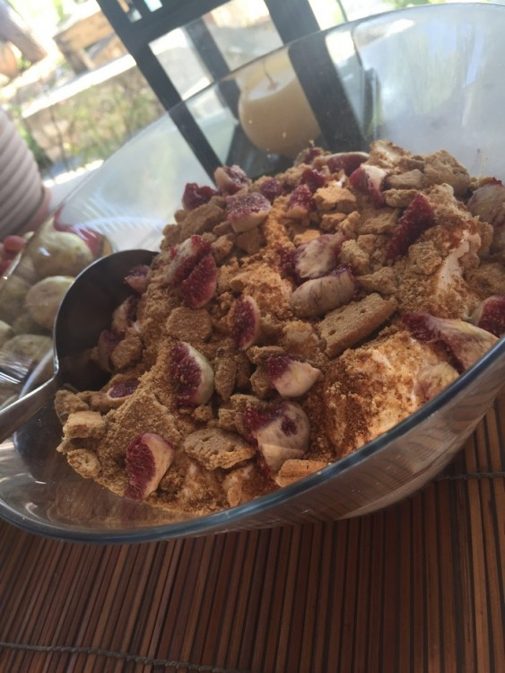 Σύκα παντού...Στο φαγητό, στην σαλάτα, στο γλυκό...Με μπισκότα και σαντιγύ...